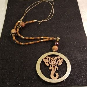 Jewelry - Wood laser cut elephant disk necklace